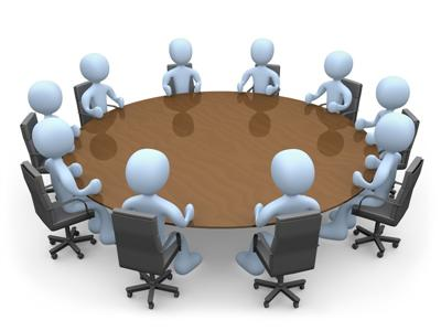 3d people in a round table having a meeting.