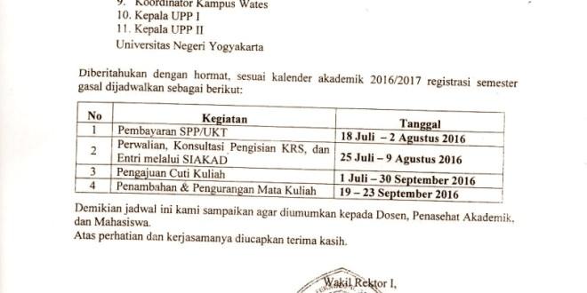 Jadwal Registrasi Semester Gasal UNY 2016/2017  UNY COMMUNITY